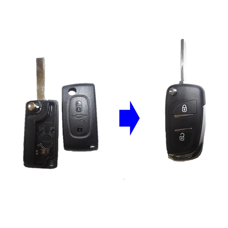 Κέλυφος Μετατροπής Κλειδιού Peugeot με 2 Κουμπιά και Λάμα HU83